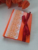 Papiernictvo - Pomarančový (vyšívaný zápisník) - 10429315_