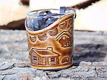 Nádoby - Štamperlík v koži - Chalúpka, hory - 10428754_