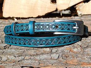 Opasky - kožený opasok - dark tyrkys, 1,5 cm - 10428569_