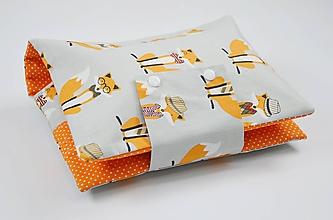 Detské doplnky - Organizér na plienky sivý s oranžovými líškami - 10426300_