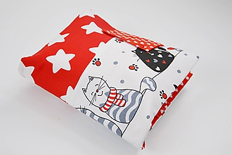 Detské doplnky - Obal na plienky červeno-bielo-čierny s mačkami - 10426319_