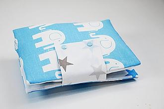 Detské doplnky - Organizér na plienky bielo-modrý sloníkový - 10426384_