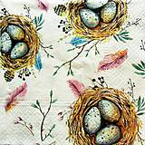 Papier - S1408 - Servítky - Veľká noc, vajíčka, hniezdo, bahniatka - 10427250_