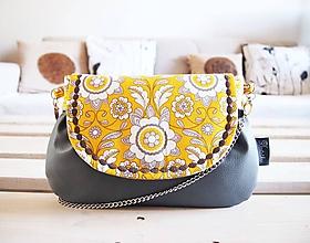 Kabelky - Sivá kabelka s žltým ornamentom - 10428766_