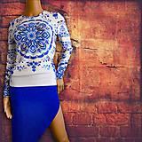 """Tričká - FLORAL FOLK """" Slovenská ornamentika """", tričko s dlhým rukávom Modrý akvarel - 10427929_"""