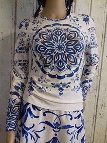 """Tričká - FLORAL FOLK """" Slovenská ornamentika """", tričko s dlhým rukávom Tmavomodrý akvarel - 10428227_"""