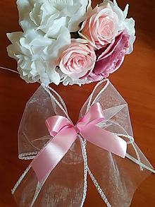 Pierka - mašľa na auto ružovo-biela aj v iných farbách - 10429768_