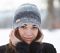 Čiapky - Sivá melírovaná čiapka - 10429920_