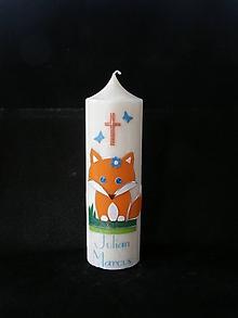 Svietidlá a sviečky - Křestní svíčka LIŠKA - 10426860_