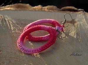 Náušnice - Náušnice Háčko rúžové - 10428280_