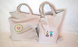 Nákupné tašky - Nákupná ľanová taška Klasik s krížikovou výšivkou - 10428811_