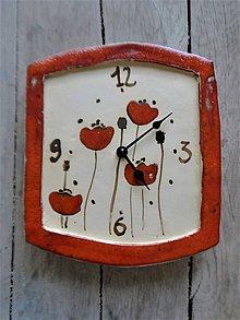 Hodiny - keramické hodiny s divými makmi - 10428467_