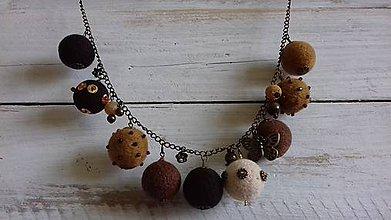 Náhrdelníky - plstený náhrdelník - hnedý - 10427328_