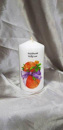 Svietidlá a sviečky - Veľkonočná sviečka biela v tvare valca s textom ,,požehnaná Veľká noc ,, - 10428023_