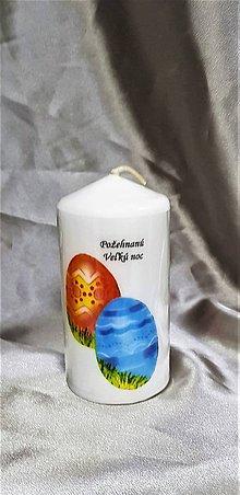 Svietidlá a sviečky - Veľkonočná sviečka biela v tvare valca s textom ,,požehnaná Veľká noc ,, - 10428057_
