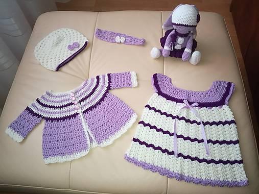 808c80086 Háčkovaná súprava šaty, svetrík, čelenka a čiapka / ZM-Handmade ...