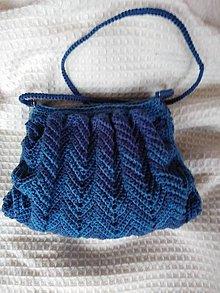 Kabelky - Háčkovaná kabelka modrá -cik cak - 10429078_