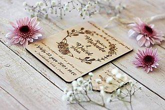 Papiernictvo - Drevené svadobné oznámenie 2 - 10427483_