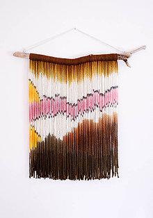 """Dekorácie - Nástenná dekorácia z dreva a vlny """"Ružový plameniak"""" - 10427053_"""