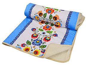Úžitkový textil - Deka z ovčieho rúna modrá - 10429734_