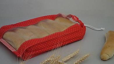 Úžitkový textil - Vrecúško na chlieb a pečivo - červené (1/2kg chlieb 21x33 cm) - 10429397_