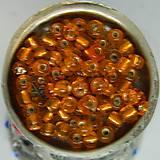 Korálky - Rokajl okrúhly 4mm s prieťahom oranžový - 10429613_
