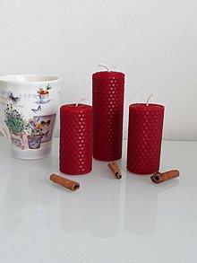 Svietidlá a sviečky - Sada - trio červených sviečok - 10429767_