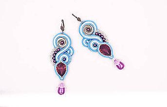 Náušnice - Šujtášové náušnice modrotlač (Pestrofarebná) - 10428953_