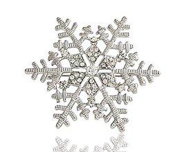Galantéria - Štrasová brošňa snehová vločka - 10429671_