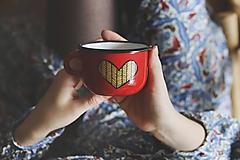 Nádoby - Smaltovaný hrnček - Zlaté srdco III. - 10428059_