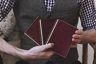 Papiernictvo - Kožený zápisník s krúžkovou väzbou - 10429346_