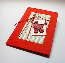 Papiernictvo - Pohľadnica ... kočiarik (Červená) - 10433437_