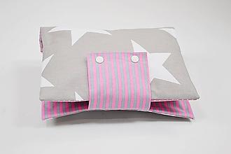 Detské doplnky - Organizér na plienky sivo-biely hviezdičkový s ružovou - 10431386_