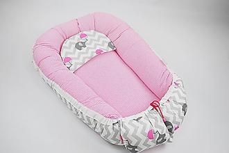 Textil - Hniezdo pre dieťatko sivo-ružové so sloníkmi - 10433047_