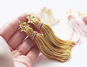 Náušnice - Strapcové zlaté náušnice - 10431270_