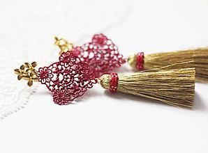 Náušnice - náušnice so strapcom a čipkou - 10431313_