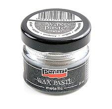 Farby-laky - Metalická vosková pasta, 20 ml (strieborná) - 10431478_