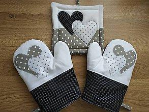 Úžitkový textil - Set do kuchyne  (set do kuchyne sivo-bielo-čierna) - 10430838_