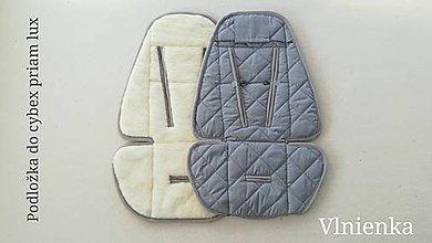 Textil - Podložka do kočíka CYBEX Priam lux a Balios S  100 % merino top super wash ŠEDÁ - 10434458_