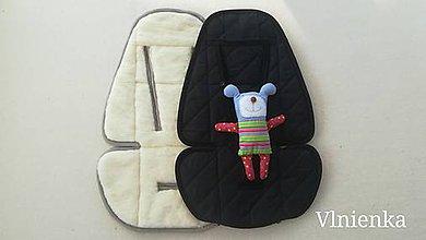 Textil - Podložka do kočíka CYBEX Priam lux a Balios S  100 % merino top super wash BLACK & WHITE - 10434467_