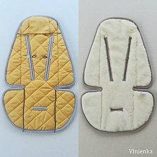 Textil - Podložka do kočíka CYBEX Priam lux a Balios S  100 % merino top super wash MUSTARD/ GOLD/ HORČICOVÁ - 10434487_