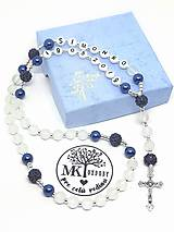 Náhrdelníky - Ruženec perl. so shamballa  (Matná biela s modrou) - 10431769_