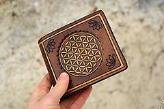 Peňaženky - Kožená peňaženka VI. Kvet života - 10434185_