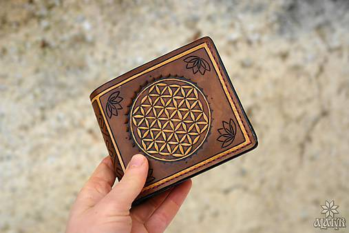 Kožená peňaženka VI. Kvet života