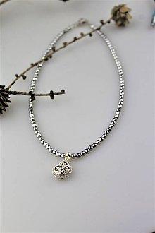 Náhrdelníky - valentínske srdiečko , náhrdelník hematit - 10434443_