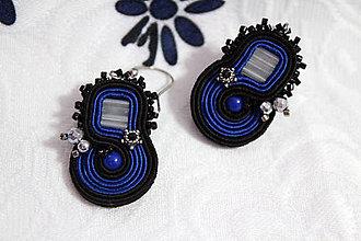 Náušnice - Náušnice modrá v čiernej - 10431768_