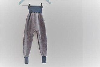 Detské oblečenie - Softshellky bez záplat -šedé melír - 10433030_