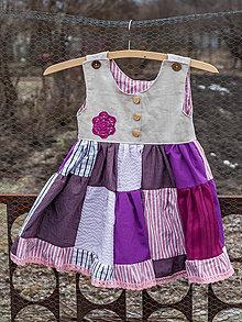 Detské oblečenie - Dievčenské šaty ľanové s patchworkom - 10434252_