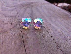 Náušnice - Cushion crystal AB - 10434408_