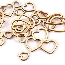 Papier - drevený výrez srdce 13x15mm - 10434536_
